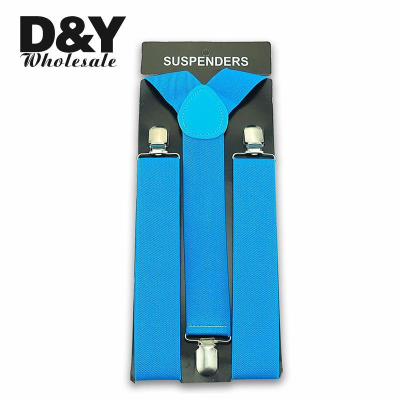 3.5cm Wide Sky Bule Colors Men's Women's Unisex Clip-on Braces Elastic Suspender Fashion Adjustable Suspenders Wholesale