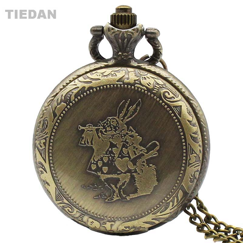 TIEDAN Fashion Small Alice Rabbit Design Antique Quartz Pocket Watch with Chain Necklace Retro Fob Watch for Unisex Gifts H13