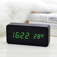 Hot Wooden LED Alarm Clock with Temperature Sounds Control Calendar LED Display Electronic Desktop Digital Table Clock LXY9 DE17