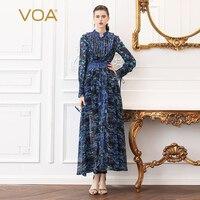 VOA Silk Georgette Dress Women Sexy Split Dresses Plus Size 5XL Slim Tunic High Waist Boho Print Summer Long Sleeve Blue A526
