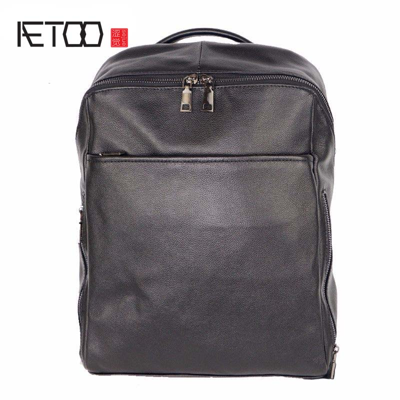 AETOO Explosion models leather men's shoulder bag business backpack the first layer of leather men's bag anti-theft fashion tren aetoo the new oil wax cow leather bags real leather bag fashion in europe and america big capacity of the bag