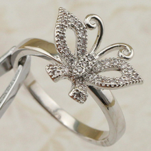 Size #6 #7 Lovely Special Nice Butterfly White CZ Gems Ring Platinum Plated Jewelry Gift For Women MB223