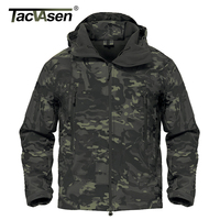 TACVASEN Army Camouflage Men Jacket Coat Black CP Military Tactical Jacket Winter Hunt Waterproof Soft Shell
