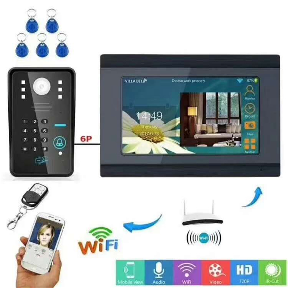 7 Inch Wireless Intercom WIFI Doorbell ID Card/Password Access Control Video Door Phone