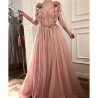 Blush Pink Tulle Long Evening Dress 2018 A Line Floor Length Flowers Summer Party Dresses New Arrival Arabic Prom Gowns Cheap