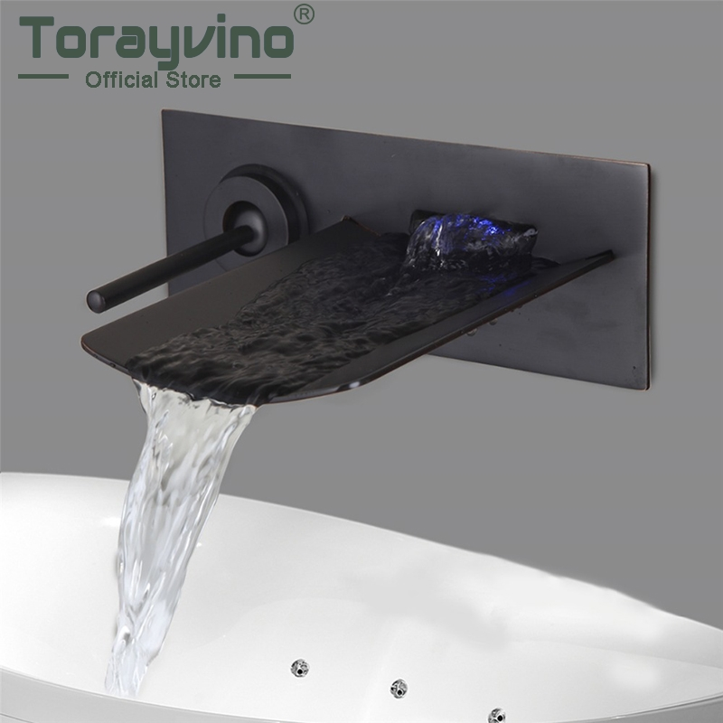 купить Single Handle Wall Mounted Bathroom Bathtub Basin LED Brass Faucet Mixer Tap Oil Rubbed Bronze Basin Sink Faucet по цене 6189.13 рублей