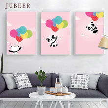 Scandinavian Poster Cute Pink Panda Balloon Decorative Painting for Children Room  Wall Art Canvas Prints Modern Home Decor