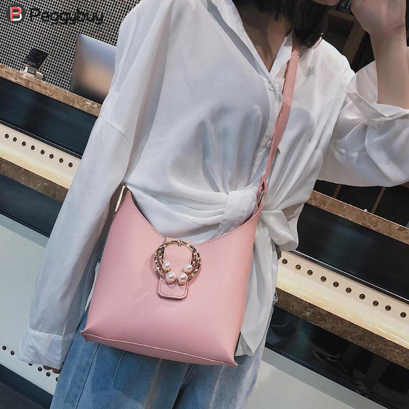 2 Pcs/Set Elegant Women Pearls Shoulder Bags Ladies Female Solid Color PU Leather Crossbody Bag