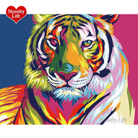 Framed Diy Digital Oil Painting By Numbers Snow Tiger Wall Decor Picture On Canvas Oil Paint Coloring By Number Drawing Animals