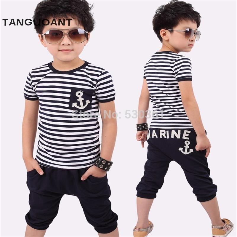 TANGUOANT Free shipping hot sale summer clothing sets kids pants + Top boys girls Navy Stripe kids clothes children tracksuit