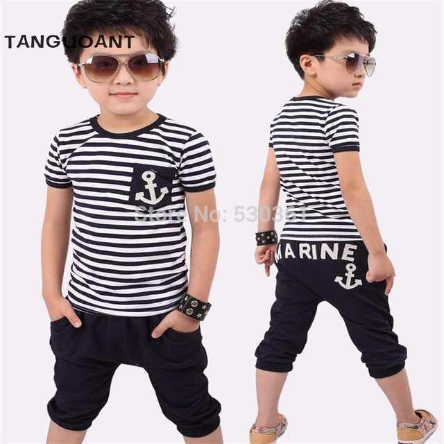 a40e345af5d Online Shop TANGUOANT Free shipping hot sale summer clothing sets kids  pants + Top boys girls Navy Stripe kids clothes children tracksuit