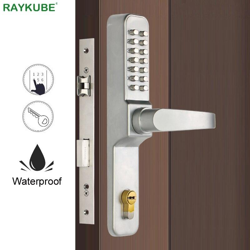 RAYKUBE Digital Code Door Lock Mechanical Code Password Keyless Waterproof Outdoor Use Mortise Lock For Entrance Doors R-480A
