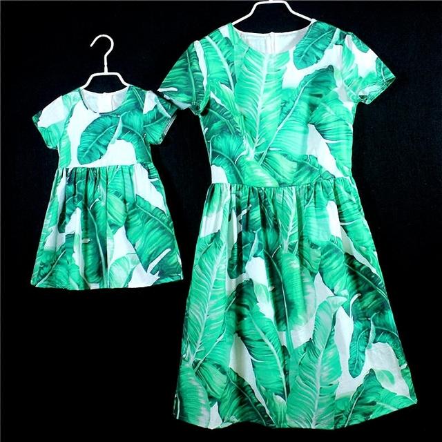 Design da marca de verão de algodão crianças vestido de praia vestido de mãe e filha família roupas combinando roupas mãe e do bebê vestidos de meninas