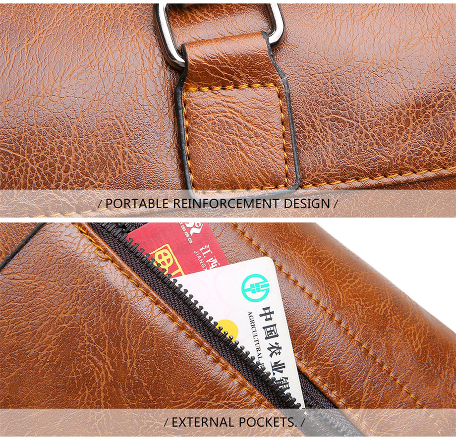 Famous Designer JEEP BULUO Brands Men Business Briefcase PU Leather Shoulder Bags For 13 Inch Laptop Bag big Travel Handbag 6013