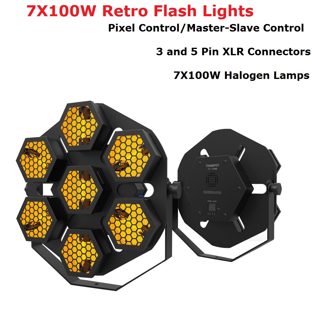 New 7X100W Retro Flash Lights Pixel Control DMX Par Lights Stage Wash Effect Lights Stage Disco DJ Club KTV Family Party Lights Stage Lighting Effect     - title=