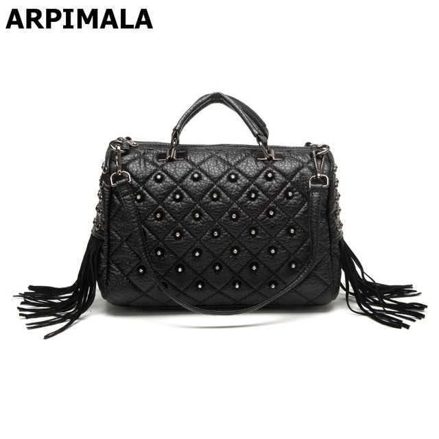 83aef90f9af5 ARPIMALA 2018 Winter Luxury Handbags Women Bag Designer Tote Bags Stud  Fringe Big Punk Hand Bags Ladies High Quality Shopper Bag