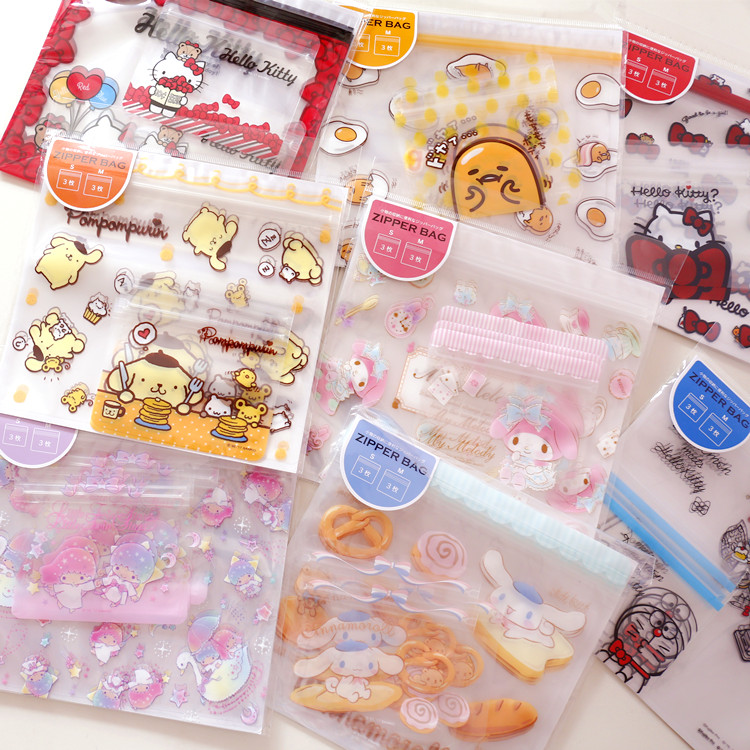 6pcs/set Cartoon Melody Little Twin Stars Cinnamoroll Self-seal Storage Bags For Dolls Collection