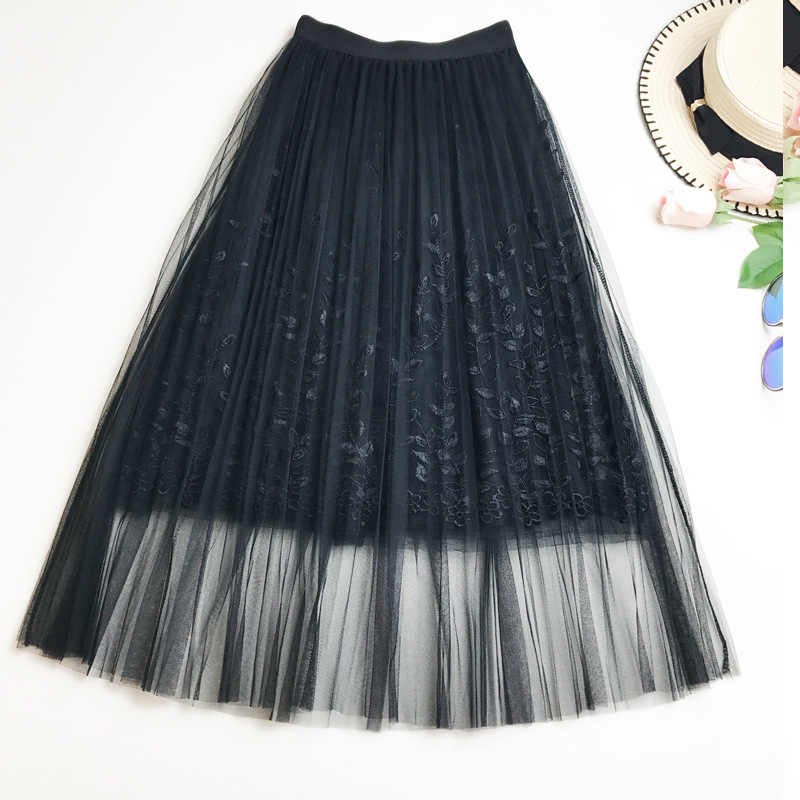 a2b13cec7e201 Summer New Women Lace Skirt Fashion Embroidered Gauze Skirt Fairy Mesh with  Lining Knee-length Skirt Summer Crochet Skirts