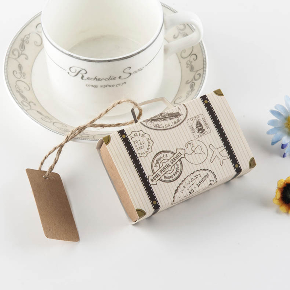 50pcs Mini Suitcase Kraft Candy Box Wedding Gift Boxes Travel Themed ...
