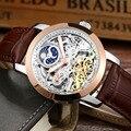 LIGE Mens Tourbillon Oco Relógios mecânicos Automáticos Homens Relógios Top Marca de Luxo Mergulho 50 M relógios de Pulso de Couro Homem de Negócios Do Esporte
