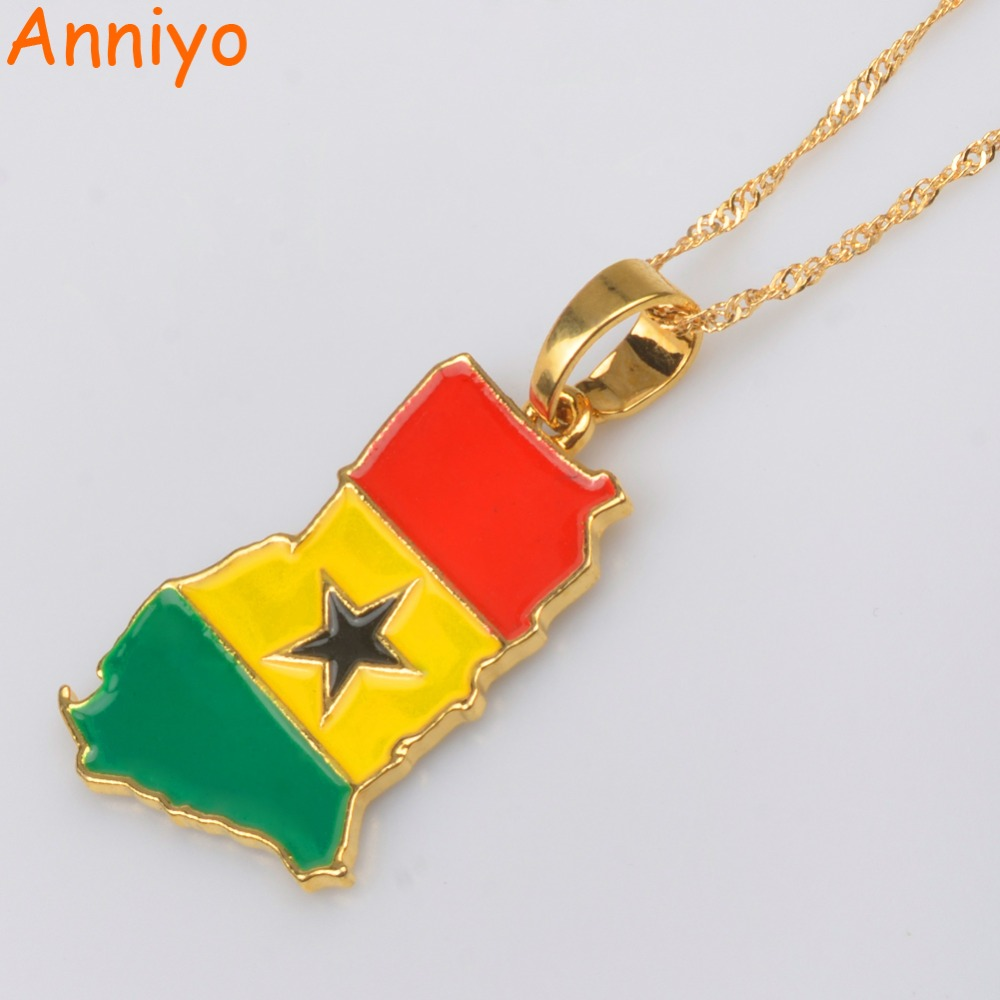 Anniyo Ghana Map/Flag Pendant Necklace Gold Color Jewelry Ghanaian Country Maps Patriotic National Day gift #072406 twist american flag patriotic bandeau bikini