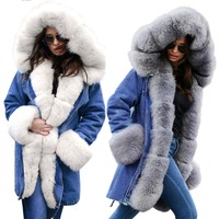 Large size women's Parker denim jacket winter women's thickening casual cotton coat fashion long fur hooded coat women