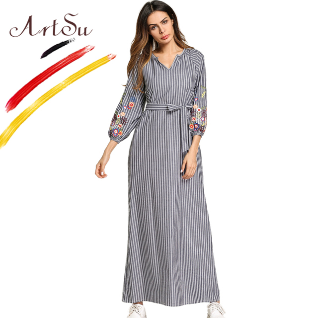 ArtSu Boho Floral Embroidery Maxi Dress Women 2018 Striped Vintage Ethnic  Loose Vestido V-Neck