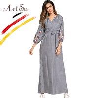 ArtSu Boho Floral Embroidery Maxi Dress Women 2018 Striped Vintage Ethnic Loose Vestido V Neck Casual