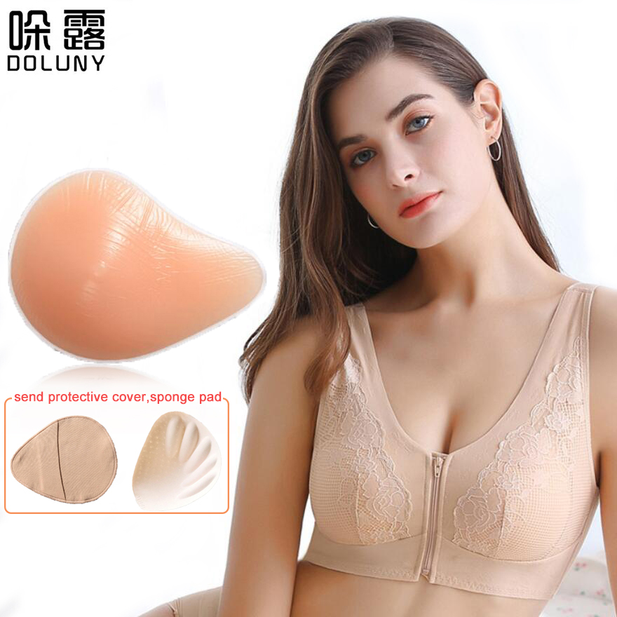Silicone Breast Form Ice Silk Front Button Breast Bra Artificial Spiral Silicone Chest 300g Fake False Breast Prosthesi D30