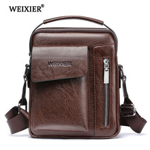WEIXIER Solid Color Retro Style Mens PU Soft Material Classic Designer Simple Design Messenger Bag High Quality