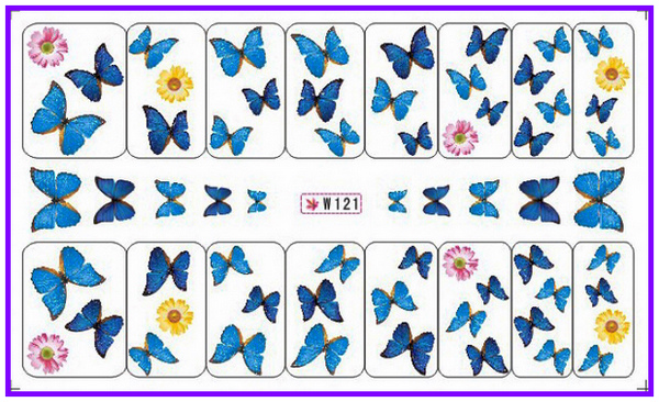 GLITTER POWDER NAIL TATTOOS STICKER WATER DECAL NAIL ART FLOWER COLORFUL BUTTERFLY  W121-126
