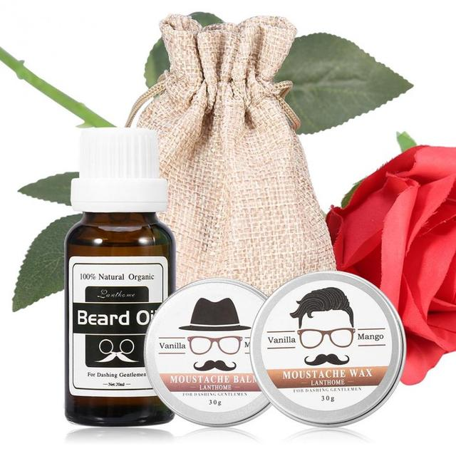 Christmas Gift Sets For Men.Us 11 63 25 Off Lanthome Natural Men Beard Care Christmas Gift Set Mustache Grooming Wax Beard Oil Balm Moisturizing Wax Beard Styling Beeswax In