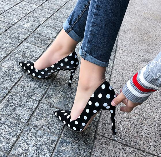 Moraima Snc Polka Dots High Heel Shoes Woman Sexy Pointed Toe 10cm Thin Heels Pumps Shallow Slip On Stietto Heels Black White