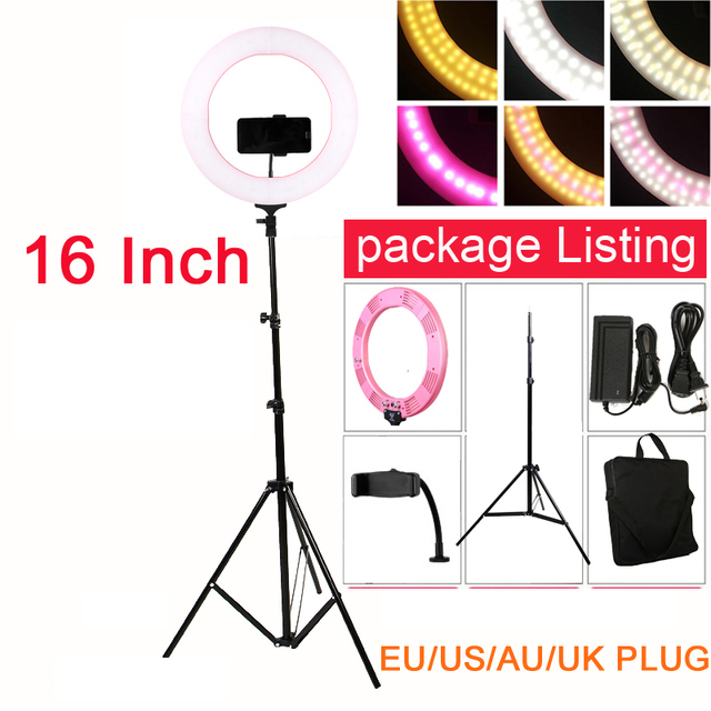 "Photo Studio 16"" Ring Light 60W 448PCS LED Stepless Adjusted 3 Colors Selfie Lighting with Tripod Phone Holder Ball head"