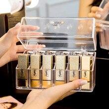 Transparent 18 Grids Acrylic Lipstick Holder Organizer Dustproof Makeup Organizer Cosmetic Storage Box practical clear acrylic makeup arrangement storage box lipstick holder transparent multi slots desktop cosmetic organizer