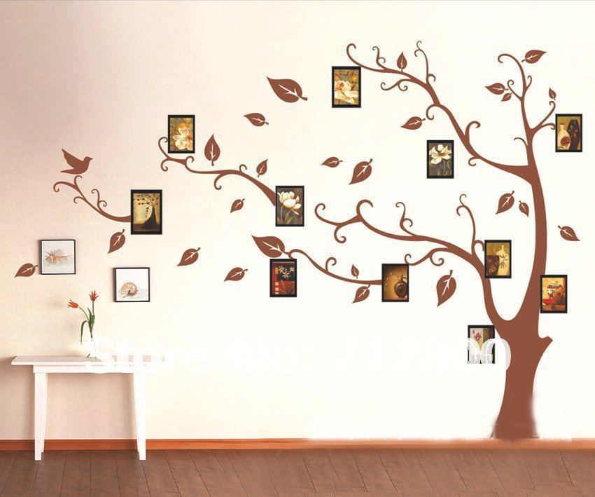 1 set high quality brown photo frames tree wall sticker for living room bedroom tv background
