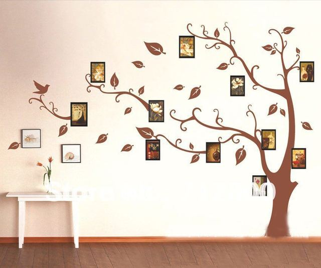 1 set High Quality Brown Photo Frames Tree Wall Sticker for Living Room Bedroom TV Background Large Size Home Decor Vinyl Decals