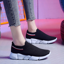 Spring/Autumn 2019 New Women Shoes Flats Fashion Loafers Sneakers Flying Breathable Shoes Woman Slip-on Shallow Plus Size 35-42 цена