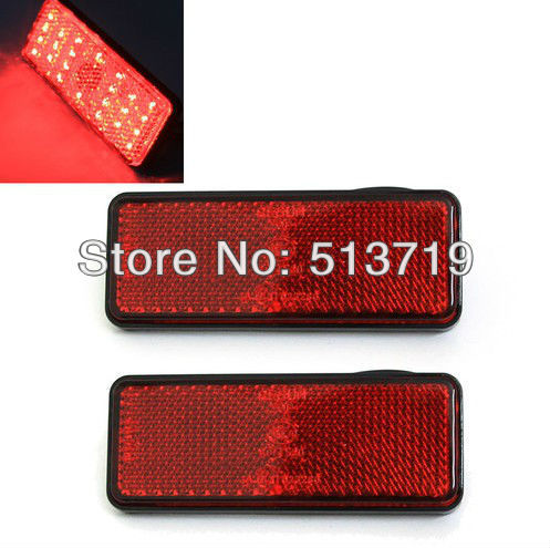 Free shopping 2X Red LED Rectangle Reflectors Brake Light Universal Motorcycle Car  1 piece red rectangle red len led reflectors brake light universal motorcycle brake light car brake lights moto stop light