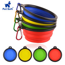 Pet Soft Dog Bowl 1PC Folding Silicone Travel Bowl For Dog Portable Collapsible Folding Dog Bowl for Pet Cat Food Water Feeding(China)