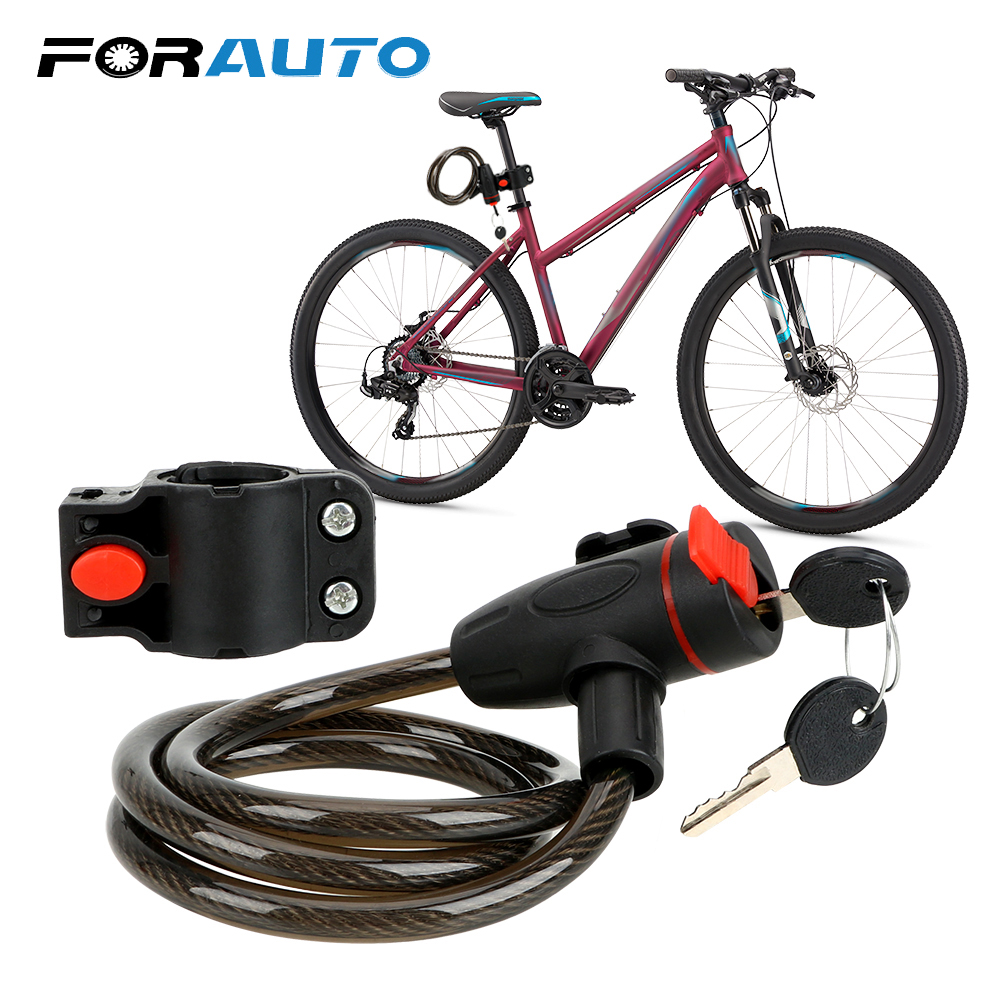FORAUTO Security Lock With 2 Keys Stainless Steel Cable Coil Anti-theft Motorcycle Lock Universal For YMAHA SUZUKI HONDA