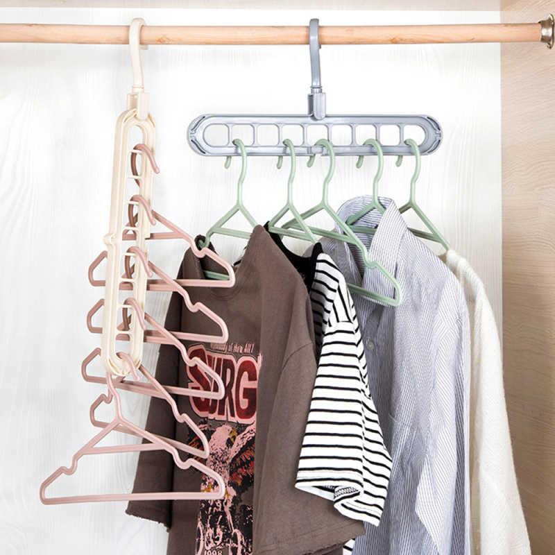2Pcs 9 Holes Space Saving Magic Hanger Clothes Drying Organizer Closet Rack Hook