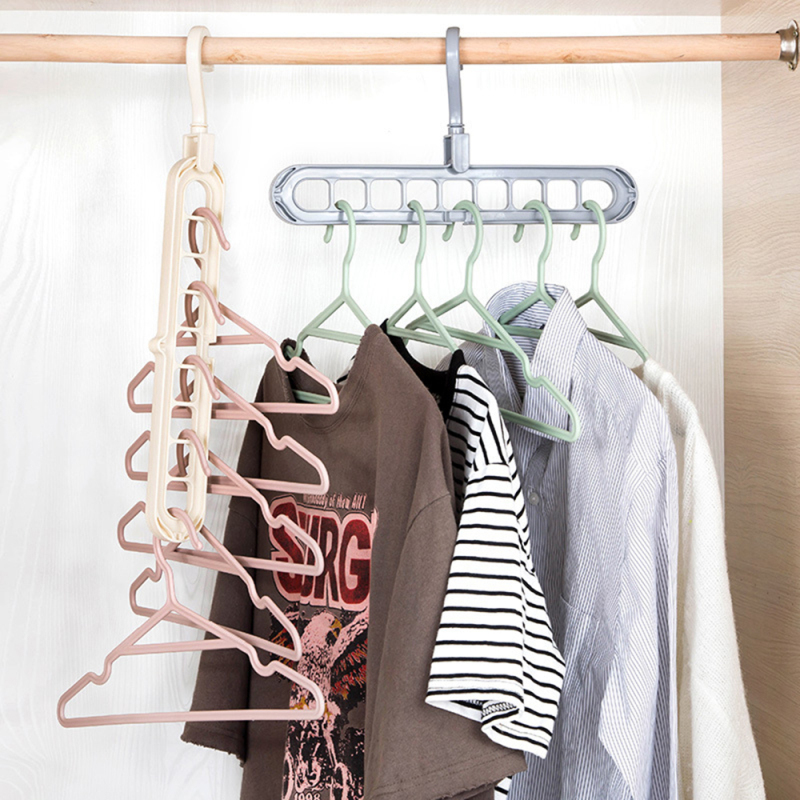 Nine-hole Rotating Magic Hanger Multi-function Hangers For Wardrobe Clothes Drying Rack Laundry Storage & Organization