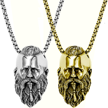 Bearded Face Pendant Stainless Steel Titanium Retro Hip Hop Fashion Men Necklace Holiday Birthday Gift
