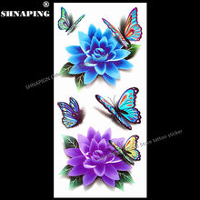 SHNAPIGN 3d Temporary Tattoo Body Art Flash Tattoo Stickers 19x9cm Waterproof Styling Tatoo Home Decor Sticker Buddha Blue Lotus