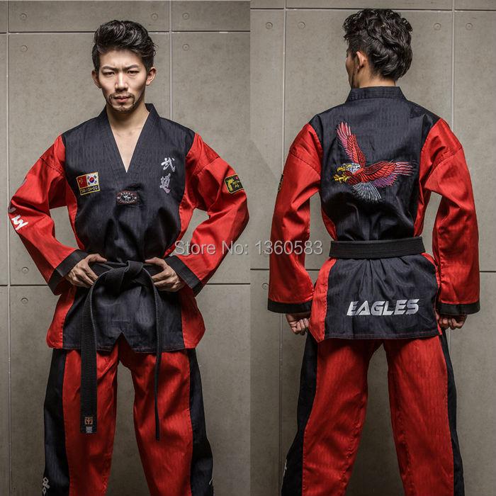 5PCS/LOT ! High-end Taekwondo uniforms cotton bamboo fiberTaekwondo dobok men women adult ITF WTF TKD clothes embroidery Eagle