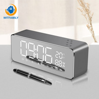LED Digital Alarm Clock Portable Wireless Bluetooth Temperature Display with FM Radio Home Watch Electronic Subwoofer Desktop