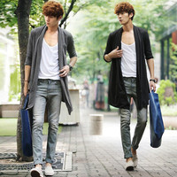 2019 New Men The Long Thin Cardigan Korean Male Cloak Coat Non Mainstream Free Shipping