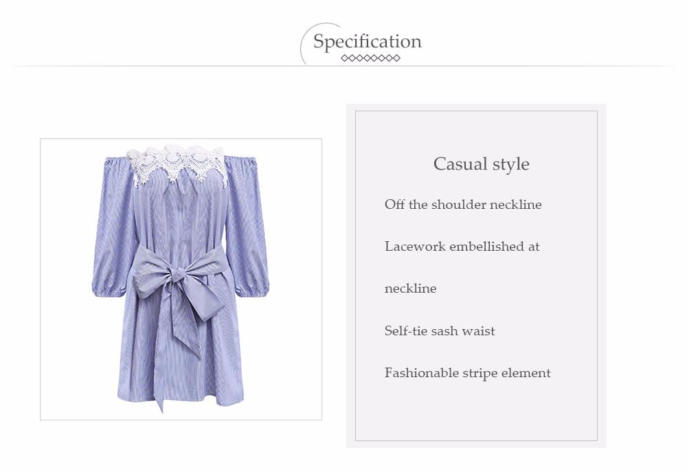 VESTLINDA Off Shoulder Blue Striped White Applique Mini Dress Women Slash Neck Lantern Sleeve Casual Sexy Short Dress With Belt 9