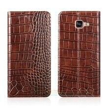 Крокодил зерна натуральная кожа чехол для Samsung Galaxy A3/A5/A7 2016 A310 A510 A710 роскошный чехол телефона и невидимый магнит